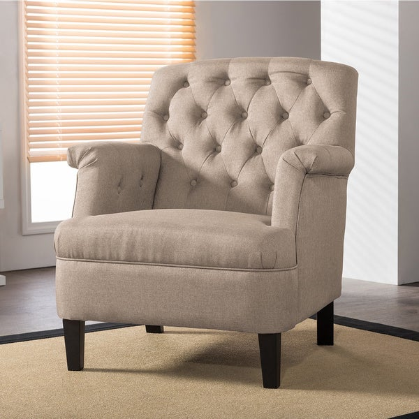 Jester Classic Retro Modern Contemporary Beige Fabric Upholstered Button Tufted  Armchair