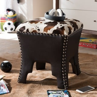 Sally Modern and Contemporary Cow-print Patterned Fabric Brown Faux Leather Upholstered Accent Stool/Ottoman with Nailheads