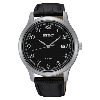 Seiko Men's SUR189 Stainless Steel Silver Tone Date Window Watch