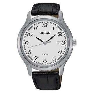 Seiko Men's SUR187 Stainless Steel Silver Tone Date Window Watch