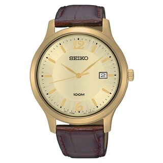 Seiko Men's SUR186 Stainless Steel Gold Tone Date Window Watch