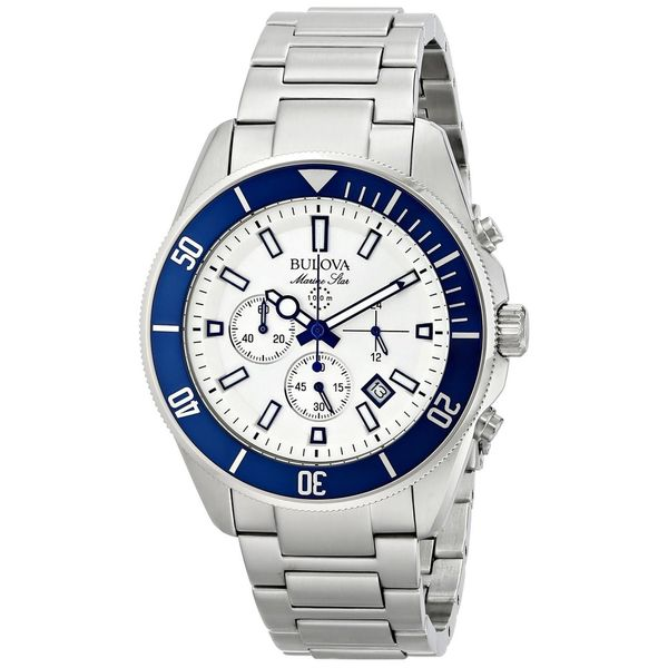 36fce93c3 Shop Bulova Men's 98B204 Stainless Steel Marine Star Chronograph Watch -  Free Shipping Today - Overstock - 10354865
