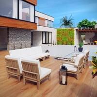 Quay 8 Piece Outdoor Patio Teak Sofa Set