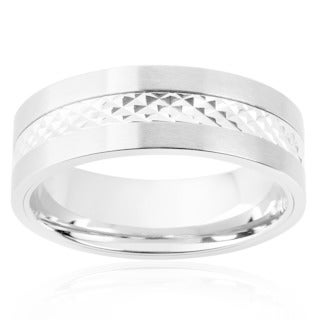 Men's Stainless Steel Diamond-Cut Textured Band Ring