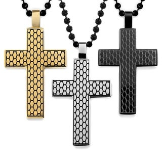 Men's Stainless Steel Two-Tone Textured Cross Pendant