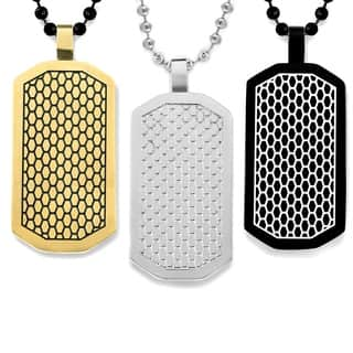 Men's Stainless Steel Two-Tone Honeycomb Dog Tag Pendant|https://ak1.ostkcdn.com/images/products/10354877/P17463356.jpg?impolicy=medium