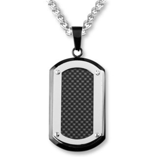 Crucible Blackplated Stainless Steel Carbon Fiber Inlay with Silvertone Edge Dog Tag Pendnat