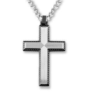 Crucible Stainless Steel Textured Cross Pendant - 24 inches