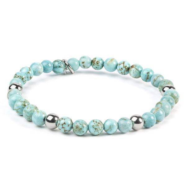 ELYA Turquoise Stainless Steel Beaded Bracelet