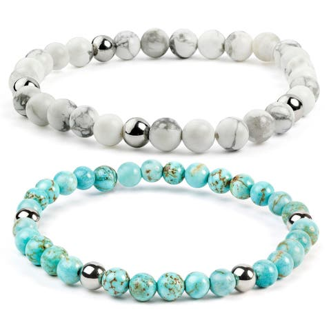 ELYA Turquoise Stainless Steel Beaded Bracelet (6mm)