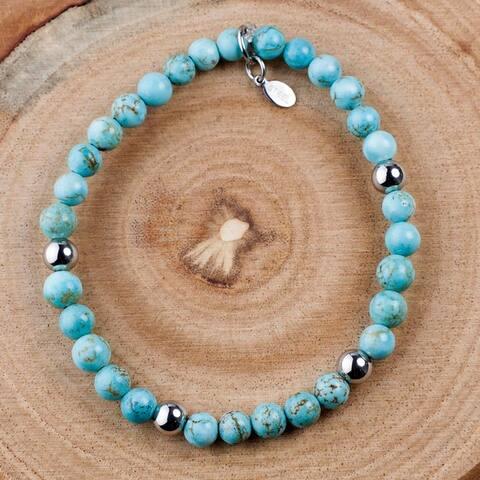 ELYA Turquoise Stainless Steel Beaded Bracelet (6mm)