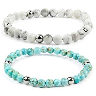 ELYA Turquoise Stainless Steel Beaded Bracelet|https://ak1.ostkcdn.com/images/products/10354885/P17463386.jpg?impolicy=medium