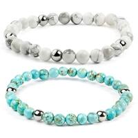 ELYA Turquoise Stainless Steel Beaded Bracelet