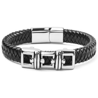 Crucible Stainless Steel and Black Woven Leather ID Bracelet