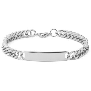Men's Stainless Steel 8.5-Inch Curb Link Chain ID Bracelet - Silver