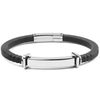 Men's Stainless Steel and Black Rubber ID Bracelet