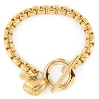 Gold Plated Stainless Steel Heart Charm Boxed Chain Bracelet - 7.5 inches