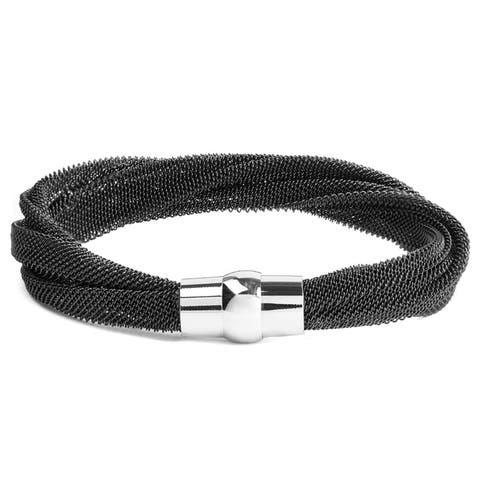 ELYA Polished Stainless Steel Twisted Mesh Bracelet - 8 Inches