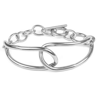 Women's Stainless Steel Two Large Oval Link Chain Bracelet