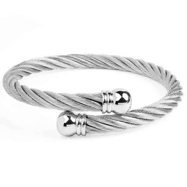 Women's Stainless Steel Twist Rope with Knob Ends Cuff Bracelet
