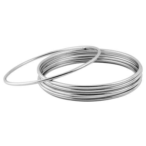 Stainless Steel Stackable Bangle Bracelet Set (Pack of 7) - Silver