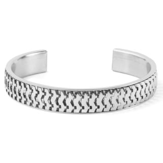 Women's Stainless Steel Textured Cuff Bracelet