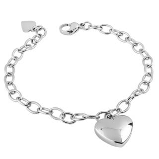 Women's Stainless Steel High Polished Heart Charm Braclet