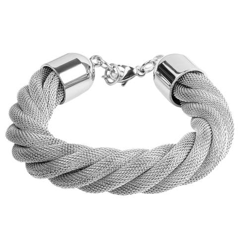 Women's Stainless Steel Twisted Mesh Bracelet - Silver