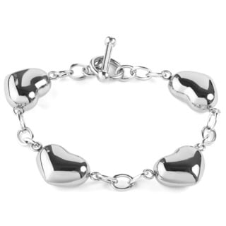Women's Stainless Steel Puffed Hearts Chain Bracelet