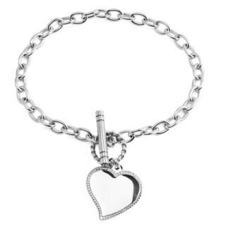 Women's Stainless Steel Heart Charm Link Bracelet - Silver