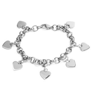 Stainless Steel Dangling Hearts Rolo Link Charm Bracelet
