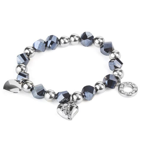 Women's Stainless Steel and Faceted Blue Beads with Charms