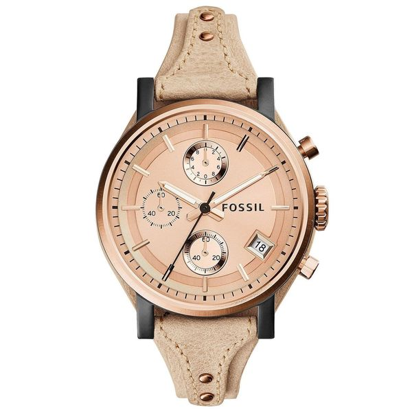 ac52db1a0 Shop Fossil Women's 'Original Boyfriend' Chronograph Beige Leather Watch -  Free Shipping Today - Overstock - 10354917