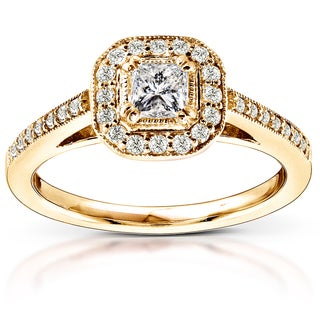 Annello by Kobelli 14k Yellow Gold 1/2ct TDW Diamond Halo Engagement Ring (H-I, I1-I2)