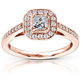 Annello by Kobelli 14k Rose Gold 1/2ct TDW Diamond Halo Engagement Ring (H-I, I1-I2)