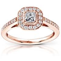 Annello by Kobelli 14k Rose Gold 1/2ct TDW Diamond Halo Engagement Ring