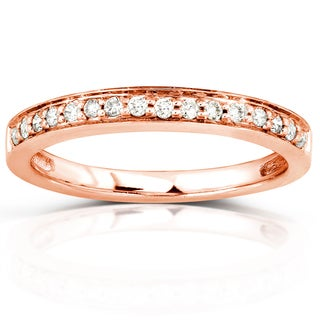 Annello by Kobelli 14k Rose Gold 1/6ct TDW Classic Diamond Wedding Band