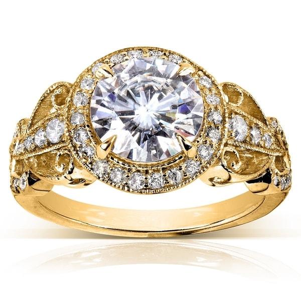 Annello by Kobelli 14k Yellow Gold 1 7/8ct TGW Moissanite (HI) and Diamond Vintage Art Deco Engagement Ring