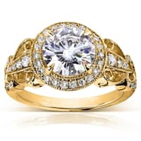 Annello by Kobelli 14k Yellow Gold 1 7/8ct TGW Moissanite (HI) and Diamond Vintage Art Deco Engagement Ring