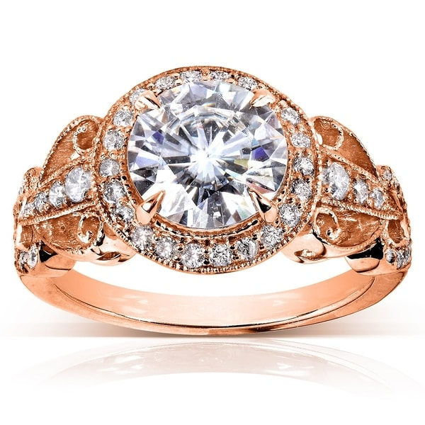 Annello by Kobelli 14k Rose Gold 1 7/8ct TGW Moissanite (HI) and Diamond Vintage Art Deco Engagement Ring