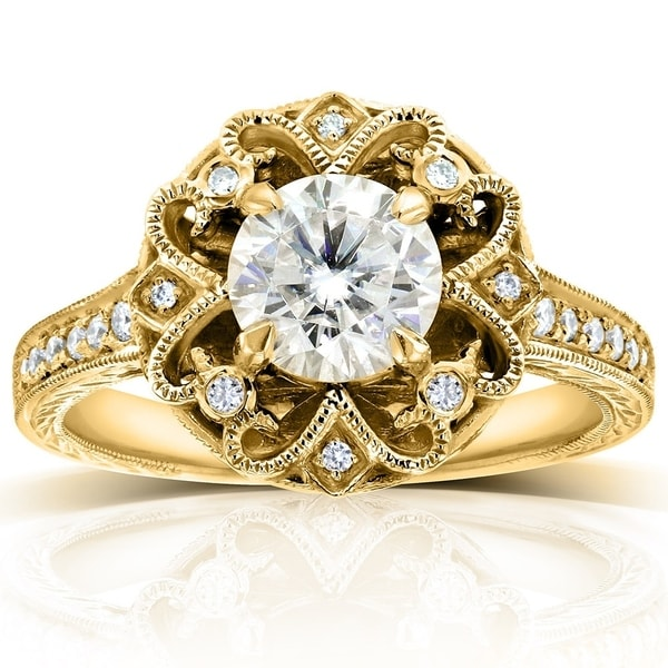 Annello by Kobelli 14k Yellow Gold 1 1/5ct TGW Moissanite (HI) and Diamond Floral Vintage Engagement Ring