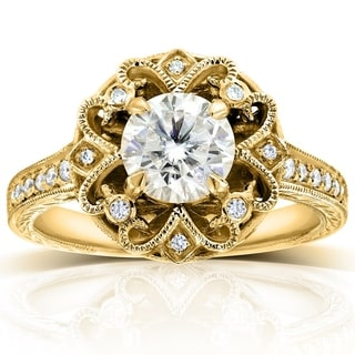 Annello 14k Yellow Gold Moissanite and 1/5ct TDW Diamond Floral Antique-style Engagement Ring (G-H, I1-I2)
