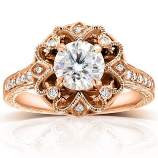 Annello by Kobelli 14k Rose Gold Moissanite and 1/5ct TDW Diamond Floral Antique-style Engagement Ri
