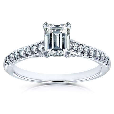 Annello by Kobelli 14k White Gold 1 1/5ct TGW Emerald Cut Moissanite and Diamond Engagement Ring (FG/VS, GH/I)