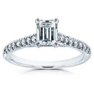 Annello 14k Gold Forever Brilliant Emerald Cut Moissanite and 1/6ct TDW Diamond Engagement Ring (G-H, I1-I2)