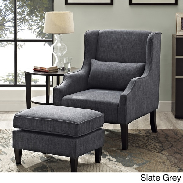 WYNDENHALL Leyton Wingback Club Chair And Ottoman   Free Shipping Today    Overstock.com   17463461