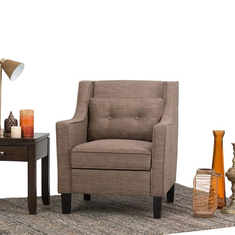 WYNDENHALL Warwick 29 inch Wide Transitional Club Armchair in Fawn Brown Linen Look Fabric