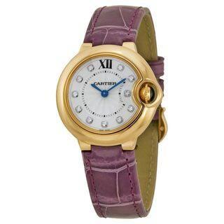 Cartier Women's WE902050 'Ballon Bleu' 18kt Rose Gold Diamond Purple Leather Watch
