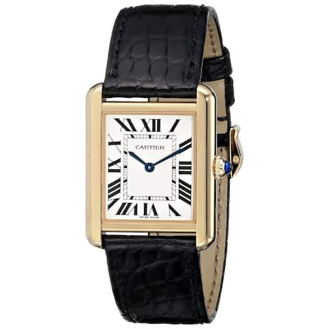 Cartier Women's W5200004 'Tank Solo' 18kt Yellow Gold Black Leather Watch