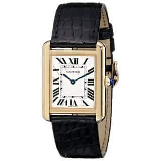 Cartier Women's W5200004 'Tank Solo' 18kt Yellow Gold Black Leather Watch